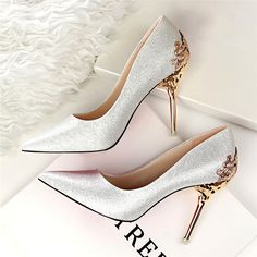 d9939bcf730 Spring Summer Women High Heels Shoes Pointed Toe Matel Heels Pumps Fashion  Sexy Shoes Heeled Carved Metal Office Wedding Shoes - The 1960 Store