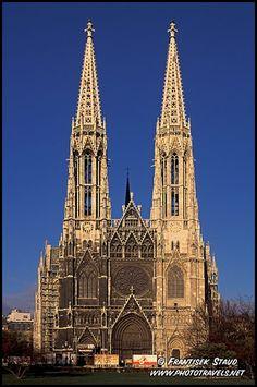 Impressive neo-gothic building of Votivkirche, Vienna, Austria