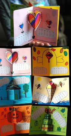 Calendar Pop-up BOOK 2016 Pop Up Calendar books for kids (includes templates and calendar printables) - what a fun project! Arte Pop Up, Pop Up Art, Fun Crafts, Crafts For Kids, Paper Crafts, Kids Pop, Paper Pop, Design Poster, Happy Birthday Cards