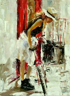 Beautiful paintings by artist Angelica Privalihin Bicycle Painting, Bicycle Art, Zebra Art, Hyper Realistic Paintings, Bike Poster, Open Art, Illustrations, Outdoor Art, Beautiful Paintings