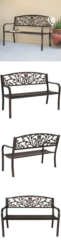 Benches 79678: Bcp 50 Patio Garden Bench Park Yard Outdoor Furniture Steel  Frame Porch Chair