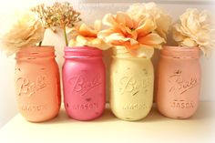Wedding Decorations 4 Painted Mason Jars by ChicGoddess on Etsy, $20.00