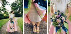 Custom made designer wedding dress by Emma Berg | New York wedding |Destination Wedding Stockholm Högberga Gård | Florals by Bladverket | Yellow wedding shoes