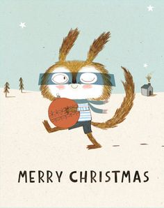 Bauble Thief Christmas Card by KateHindley