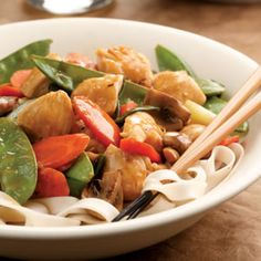 Lemon Chicken Stir-Fry....add extra veggies and serve with rice noodles for a low energy density meal