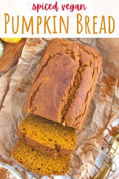 This easy vegan pumpkin bread recipe is perfectly spiced and moist! The best Starbucks copycat that is completely egg and dairy free. #veganpumpkinbread #veganpumpkin #veganpumpkinloaf #vegandesserts #veganfalldesserts Pumpkin Bread Mix, Pumpkin Spice Muffins, Pumpkin Spice Cake, Baked Pumpkin, Healthy Vegan Desserts, Vegan Dessert Recipes, Delicious Vegan Recipes, Raw Food Recipes, Keto Desserts