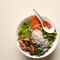 ### Vietnamese Noodle Bowl with Glazed Pork - very tasty. There are A LOT of vegetables + not a lot of meat, so be prepared for that. The dressing is good, but has a strong lime flavor, so use sparingly, but it does help to tie all the flavors together. Also, regular cereal bowls are NOT big enough for all this tastiness :)