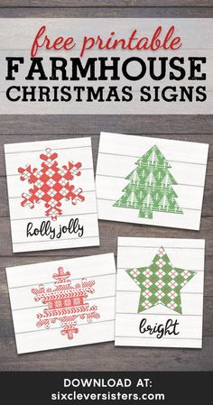 These free printable farmhouse Christmas signs are ready for you to print and add to your home Christmas decor! It's a free printable Christmas that is simple and cozy and that you can have ready in minutes! #christmas #decor #diy #holiday #printables #freeprintable #farmhouse #sign