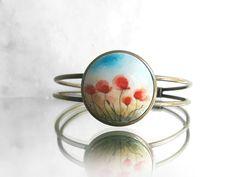 Bracelets For Ladies  :    Handmade Poppy Bracelet, Small Fine Art Painting Poppies Fied, Antique Bronze Color Cuff Bracelet, FLower Art Jewelry, Painted by Artdora  - #Bracelets  https://talkfashion.net/acceseroris/bracelets/bracelets-for-ladies-handmade-poppy-bracelet-small-fine-art-painting-poppies-fied-antique-bronze-co/