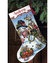 Gold Collection Snowman Gathering Stocking Counted Cross 18 Count - Overstock™ Shopping - Big Discounts on Dimensions Cross Stitch Kits Cross Stitch Christmas Stockings, Cross Stitch Stocking, Christmas Stocking Pattern, Xmas Stockings, Christmas Cross, Christmas Sled, Christmas Decor, Cross Stitch Designs, Cross Stitch Patterns