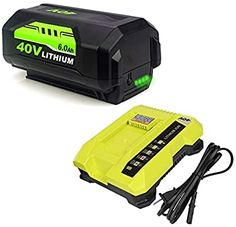 6.0Ah OP4026 Battery and OP401 40 Volt Lithium Charger Compatible with Ryobi 40V Battery OP4050A OP40601 OP4026A OP4040 OP4030 OP4050 OP4015 OP40261 OP40201 OP40301 OP40401 with LED Indicator - - Amazon.com Lawn Mower Battery, Boat Battery, Cordless Power Tools, Best Boats, Lawn Care, Charger, Ali, Amazon