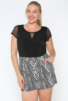http://www.salediem.com/shop-by-collection/rompers-curvy/plus-solid-zebra-romper.html Plus Solid & Zebra Romper  #salediem #fashion #bottoms  #rompers #jumpsuits #curvey