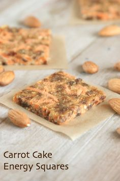 I'm giving you an excuse to eat carrot cake for a snack! Easy to make carrot cake energy squares yum Protein Bar Recipes, Raw Food Recipes, Snack Recipes, Protein Bars, Healthy Recipes, Drink Recipes, Yummy Recipes, Healthy Sweets, Healthy Snacks