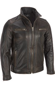Black Rivet Leather Faded-Seam Cycle Jacket - Wilsons Leather