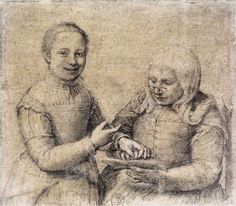 """Sofonisba Anguissola (Italian, 1530 - 1625), """"Old Woman Studying the Alphabet with a Laughing Girl,"""" 1550, Uffizi Gallery, Florence"""