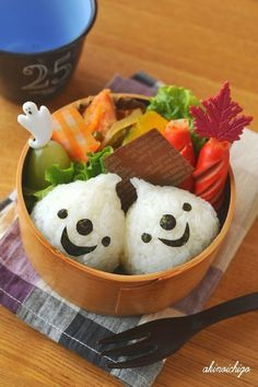Halloween Ghost Rice Balls Kyaraben Bento Lunch