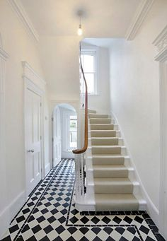 Tiled Hallway :o) and all,white walls and stairs. Hall Tiles, Tiled Hallway, Tiled Staircase, White Staircase, Staircases, Victorian Hallway, Victorian Terrace, Edwardian Staircase, Edwardian House
