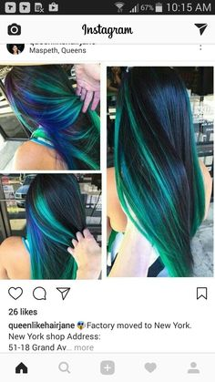 11caa45823f Blue green streak dyed hair color idea inspiration is beautiful. i really  don t know how i wanna dye my hair now there are WAY too many options omg
