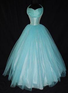Vintage GORGEOUS Teal 1950's HALTER Formal TULLE Prom BOLERO JACKET Bridal DRESS
