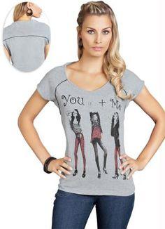 Camiseta Cinza Manga CurtaManga Curta - Posthaus.com.br