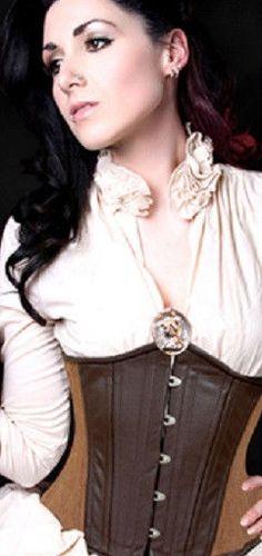 Brown Steampunk Renaissance Underbust Corset Steel Boned Waist Training Bodice #Unbranded #LaceUp