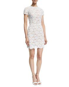 B3ACK Michael Kors Collection Short-Sleeve Gardenia-Lace Mini Dress, Optic White