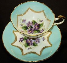 Paragon Purple Violets White Aqua Blue Wide Tea Cup and Saucer | eBay