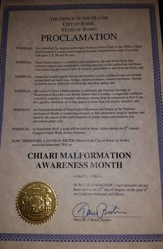 """IDAHO (City of Boise) """"Proclamation for September'15 as Chiari Malformation Awareness Month"""" Special Thanks to Mayor David H. Bieter."""