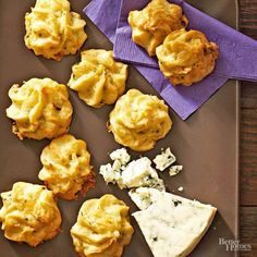 Say good-bye to boring dinner rolls. These fluffy cheese-filled puffs are the perfect complement to your favorite holiday recipes. Savory Roquefort and Gruyere cheeses add sharp flavor to each bite, and the puffs can be made up to a month ahead of time.