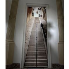 papier-peint-trompe-l-oeil-escalier-metro-blanc-gris   Trompe ...