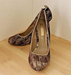 337a214c275d BCBG MAXAZRIA Brown White Striped Pony Calf Hair Gold Wedge Heel Shoes 9.5B