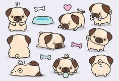 Premium-Vector Clipart Kawaii Pugs hübsch von LookLookPrettyPaper Source by The post Premium-Vector Cute Animal Drawings, Kawaii Drawings, Cute Drawings, Cute Dog Drawing, Stickers Kawaii, Cute Stickers, Weihnachten Vektor, Griffonnages Kawaii, Images Kawaii