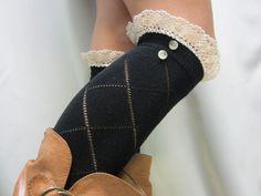 SALE black lace knee socks / Rock the schoolgirl look / Something flirty for tall boots  lightweight socks Catherine Cole