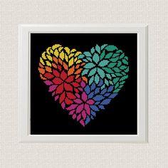 Flower heart cross stitch pattern Love Cross Stitch Pattern