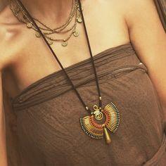 Macrame Tribal necklace with brass beads TRIBAL jewelry
