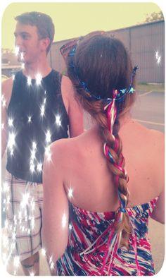 A little July 4th hair fun :) #braid #ribbons