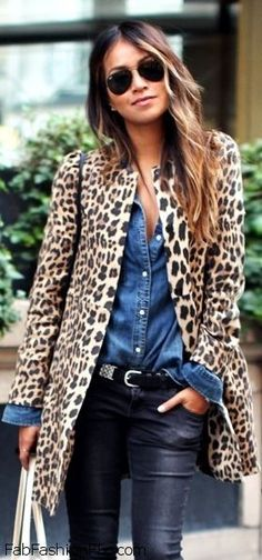 GLAM Animal print coat for winter street style.