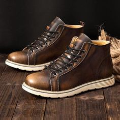 a182c799df0 Large Size Vintage Color Match Ankle High Top Leather British Style Boots  Mens Boots Fashion