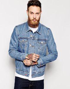 $72, Blue Denim Jacket: Asos Brand Denim Jacket In Slim Fit. Sold by Asos. Click for more info: https://lookastic.com/men/shop_items/292783/redirect