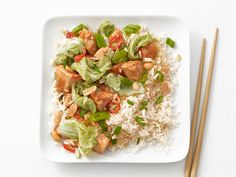 Chicken-Peanut Stir-Fry from #FNMag #myplate #protein #veggies #grains