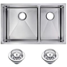 For cabin: Water Creation Undermount Small Radius Stainless Steel 32x20x10 0-Hole Double Bowl Kitchen Sink with Strainer in Satin Finish-SSS-UD-3220A - The Home Depot