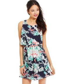 Emerald Sundae Juniors' Printed Popover Dress