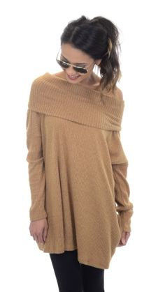 Ribbed Cowlneck Sweater, Camel :: NEW ARRIVALS :: The Blue Door Boutique