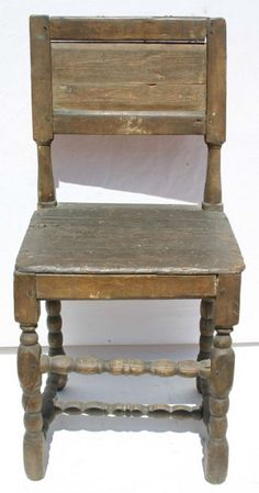 An American Cromwell chair. Love the surface. 17th century
