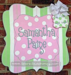 Personalized Stripe and Polkadot Baby Sign For by SparkledWhimsy, $50.00