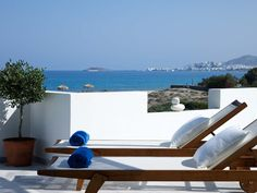 Magic balcony view from one of our suites. Private sunbeds to enjoy the sun. Suites | Villa Marandi Suites Naxos - hotels Naxos island Greece, holidays Naxos