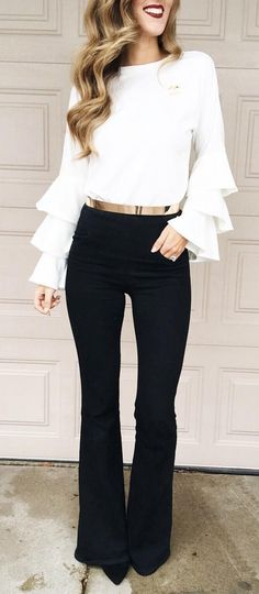 #winter #fashion / White Top / Black Wide Pants