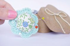 Flower Ring Pincushion Blue sky Lace. €12,50, via Etsy.