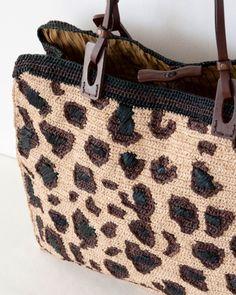 leopard print crochet bag