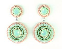Mint & coral statement earrings